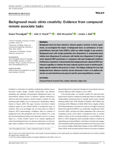 Background Music Stints Creativity: Evidence from Compound